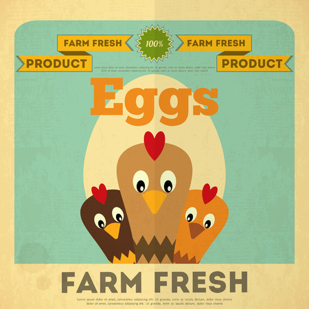 Farm Organic Food Poster. Retro Placard with Chicken and Egg. Vector Illustration.