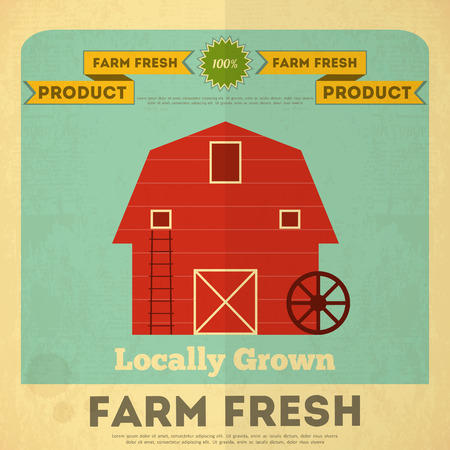 red barn: Farm Organic Food Poster. Retro Placard with Red Barn House. Vector Illustration.