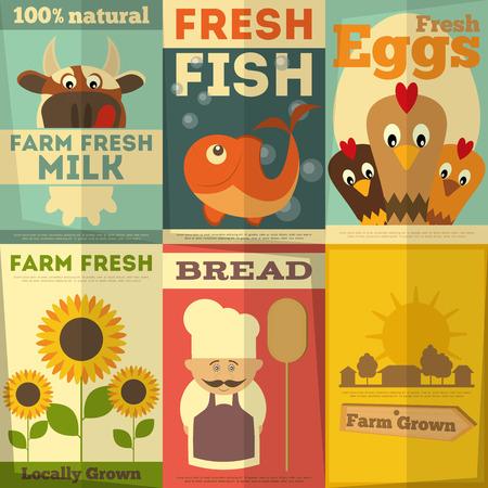 Organic Fresh Farm Food Posters Set. Retro Placard in Flat Design Style. Vector Illustration.  イラスト・ベクター素材