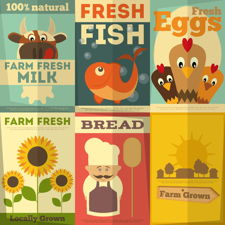 Organic Fresh Farm Food Posters Set. Retro Placard in Flat Design Style. Vector Illustration. Çizim