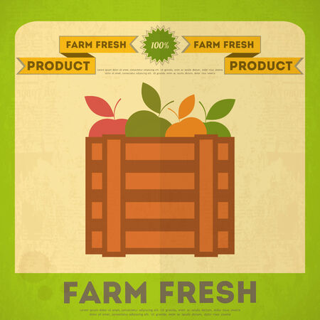 crate: Farm Organic Food Poster. Retro Placard with Apples Box. Vector Illustration.