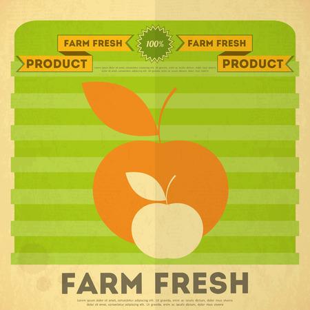 market gardening: Farm Organic Food Poster. Retro Placard with Apples. Vector Illustration. Illustration