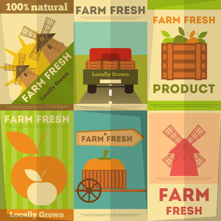 Farm Fresh Organic Food Posters Set. Retro Placard in Flat Design Style. Vector Illustration.