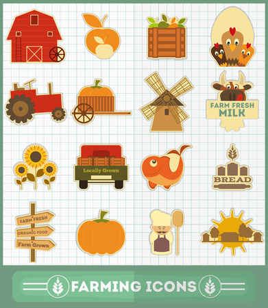 Farming and Agriculture Icons Set. Vector Illustration. Vector