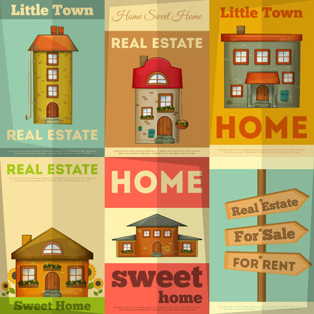 Houses on Real Estate Posters set. Vector Illustration. Stock Vector - 26539749
