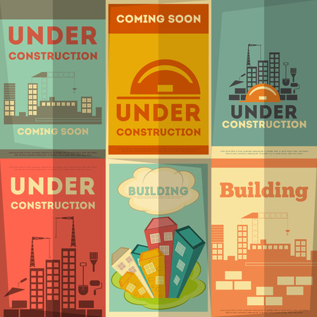 Under Construction Posters Design in Retro Flat Style. Vector Illustration.