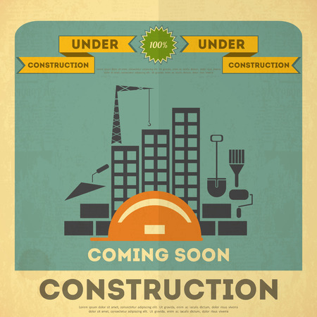 Under Construction Placard Design in Retro Style. Building Concept.  Vector Illustration. Vector