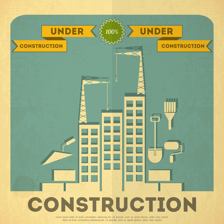 house under construction: Under Construction Placard Design in Vintage Style. Building Concept.  Vector Illustration.