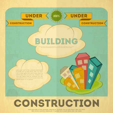Building Placard Design in Retro Style. Construction Concept.  Vector Illustration. Vector