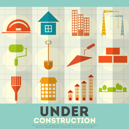 simbols: Construction Icons. Set of Building Simbols in Flat Design. Vector Illustration.