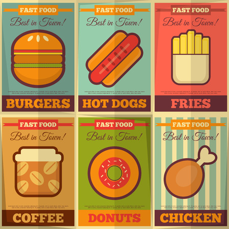 hotdog sandwiches: Fast Food Retro Placard Collection in Flat Design Style. Vector Illustration.