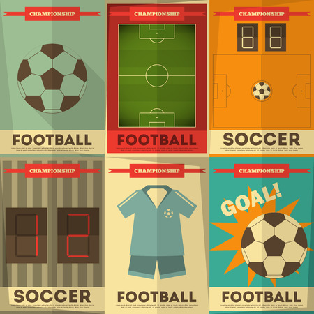 Football Posters Collection. Soccer Placards Set in Flat Design. Vector Illustration.