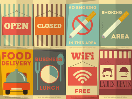 women smoking: Restaurant Stickers Set. Catering Signage in Flat Design Style. Vector illustration.