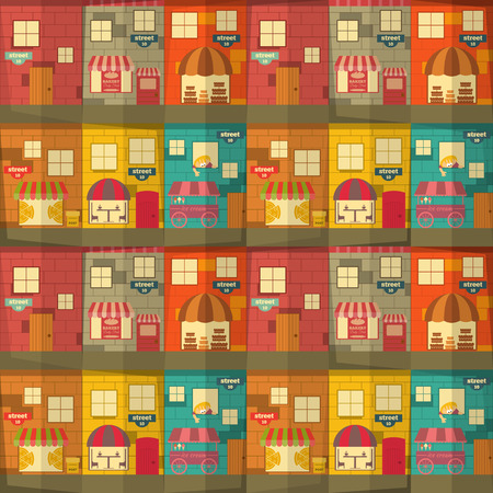 brick house: City Town Seamless Background. Vector Illustration.