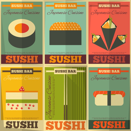 soy sauce: Sushi Posters Situado en dise�o plano. Ilustraci�n vectorial. Vectores