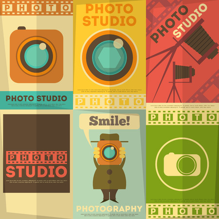 say cheese: Photo Studio Poster. Set of Photographic Placards in Flat Design Retro Style. Vector Illustration.