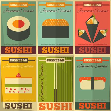 soy sauce: Sushi Posters Set in Flat Design. Vector Illustration.