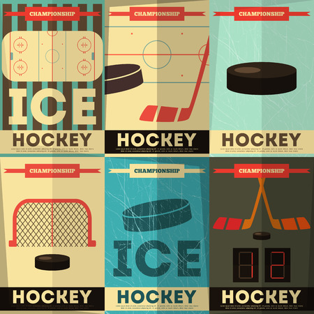 Hockey Posters Collection. Placards Set in Flat Design. Vector Illustration. Ilustracja
