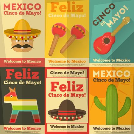 sombrero de charro: Carteles mexicanos en estilo retro. Cinco de Mayo. Ilustraci�n vectorial.