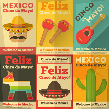 pinata: Mexican Posters in Retro Style. Cinco de Mayo. Vector Illustration.