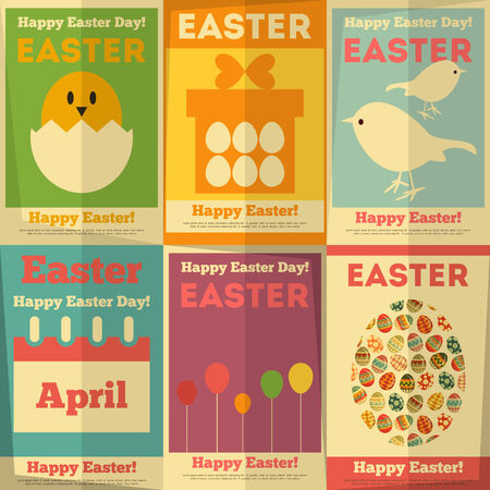Easter Posters Collection in Flat Design Style. Vector Illustration. Vector