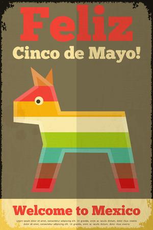 latinoamerica: Pinata. Mexican Poster in Retro Style. Cinco de Mayo. Vector Illustration.