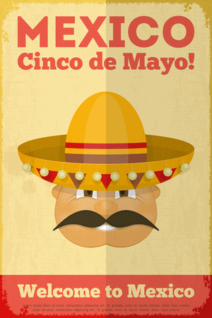 latinoamerica: Mexican Poster in Retro Style. Cinco de Mayo. Vector Illustration.