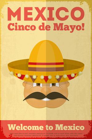 Mexican Poster in Retro Style. Cinco de Mayo. Vector Illustration.