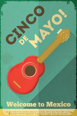 Mexican Guitar. Posters in Retro Style. Cinco de Mayo. Vector Illustration. Vector
