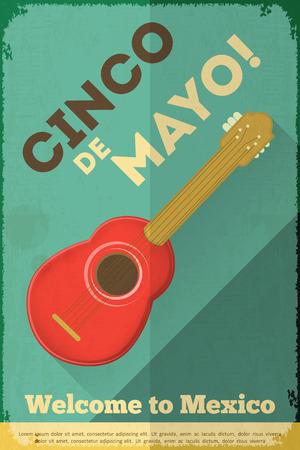 Mexican Guitar. Posters in Retro Style. Cinco de Mayo. Vector Illustration. Illustration