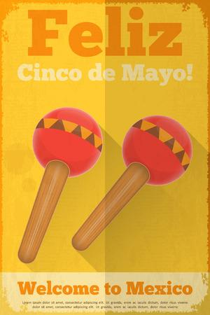 Maracas. Mexican Posters in Retro Style. Cinco de Mayo. Vector Illustration. Vector