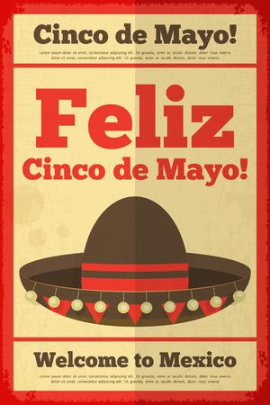 latinoamerica: Sombrero. Mexican Posters in Retro Style. Cinco de Mayo. Vector Illustration. Illustration