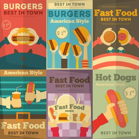 Fast Food Fun Posters Colección Foto de archivo - 27555378