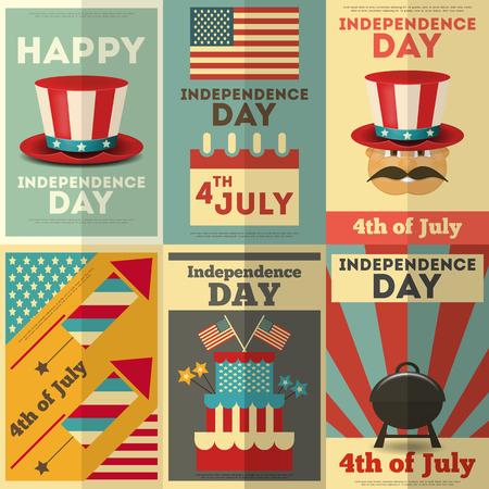 julio: Día de la Independencia de América Posters establecido en el estilo retro. Cuatro de Julio. Ilustración vectorial.