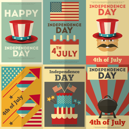 Independence Day American  Posters Set in Retro Style. Fourth of July. Vector Illustration.  Ilustração