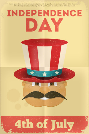 Independence Day American  Poster in Retro Style. Fourth of July. Vector Illustration.  Vector
