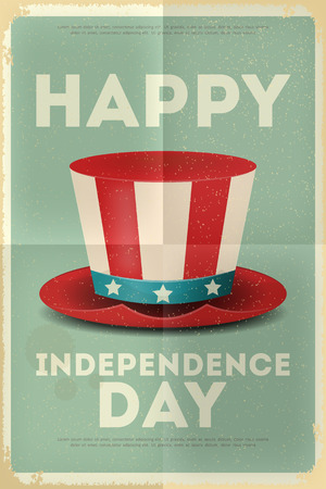 Independence Day American  Poster in Retro Style with Top hat. Fourth of July. Vector Illustration.  Ilustração