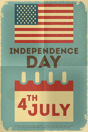 Independence Day American  Poster in Retro Style with Flag. Fourth of July. Vector Illustration.  Vector
