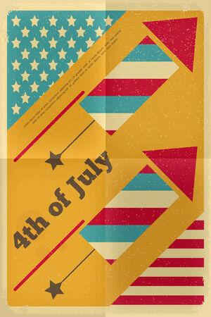 american poster: D�a de la Independencia de Am�rica del Cartel en estilo retro con fuegos artificiales. Cuatro de Julio. Ilustraci�n vectorial.