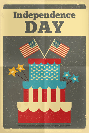 Independence Day American  Poster in Retro Style with Cake. Fourth of July. Vector Illustration.