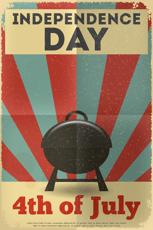 Independence Day American  Poster in Retro Style with BBQ. Fourth of July. Vector Illustration.  Vector