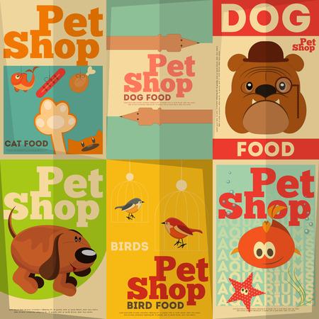 tienda de animales: Pet Shop Posters establecido en el estilo retro. Ilustraci�n vectorial.