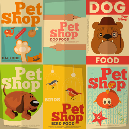 pets: Pet Shop Posters Set in Retro Style. Vector Illustration.