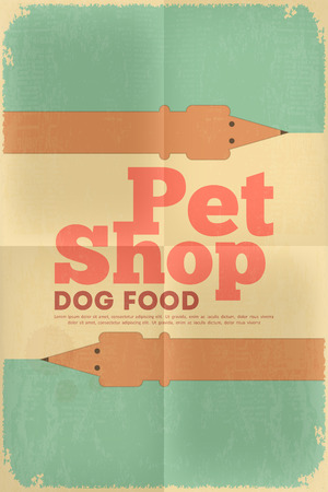 Pet Shop Poster with Dachshund  in Retro Style. Vector Illustration. Vector