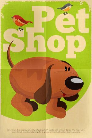 tienda de animales: Pet Shop Cartel con el perro divertido en estilo retro. Ilustraci�n vectorial.