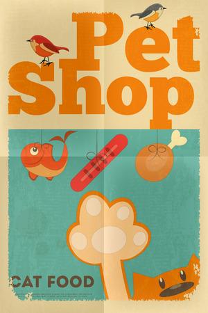 tienda de animales: Pet Shop Cartel con gato en estilo retro. Ilustraci�n vectorial. Vectores