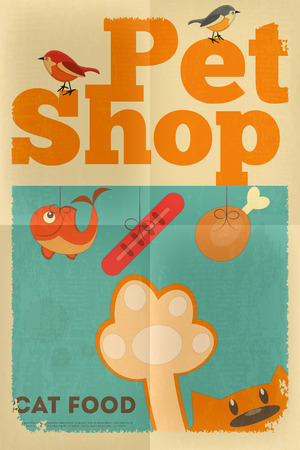 print shop: Pet Shop Poster with Cat  in Retro Style. Vector Illustration.