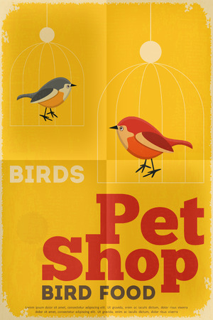 Pet Shop Poster with Bird  in Retro Style. Vector Illustration. Vector