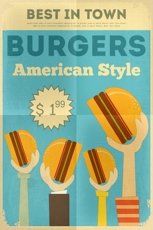 Fast Food Fun Poster in Retro Design Style. Hamburgers. Vector Illustration.  イラスト・ベクター素材