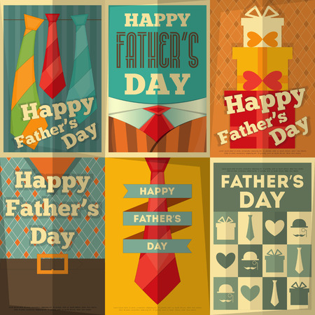 Father's Day Posters Set. Flat Design. Retro Style. Vector Illustration.  イラスト・ベクター素材